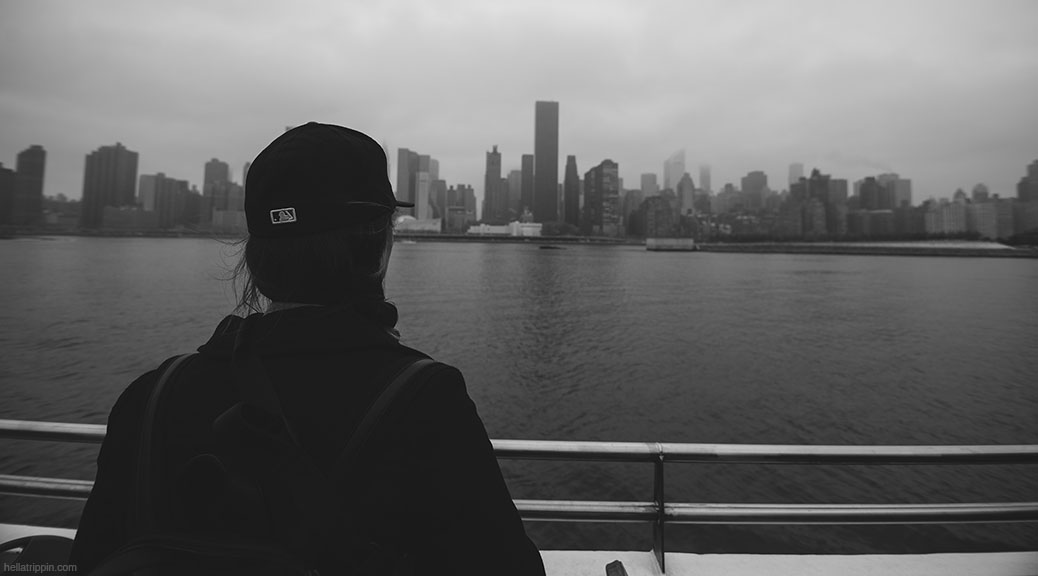 Photo of Grace riding the Circle Line boat for a tour around Lower Manhattan.